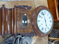 A TUNBRIDGE WARE DROP DIAL WALL CLOCK