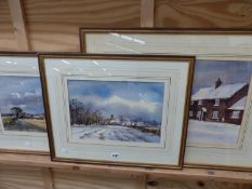 ANDREW KING ( CONTEMPORARY). ARR. THREE LANDSCAPE WATERCOLOURS TOGETHER WITH VARIOUS FURTHER WATER