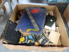 A QUANTITY OF VINTAGE CARD AND BOARD GAMES, ROYAL WEDDING RELATED POSTCARDS, AN ANTIQUE SPIRIT LEVEL
