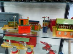HORNBY PLATFORMS, PLATE LAYERS HUTS, SIGNALS, TELEGRAPH POLES AND A SIGNAL CABIN