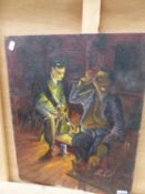 A 20TH CENTURY OIL ON BOARD OF FIGURES BY THE FIRE INSCRIBED VERSO 50 X 40 CM