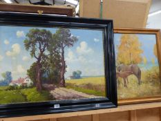 WERNER THIELE (EARLY 20th.C CONTINENTAL SCHOOL). A RURAL FARM, SIGNED OIL ON CANVAS.