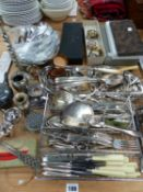 A QUANTITY OF SILVER PLATED CUTLERY, NAPKIN RINGS, ETC.