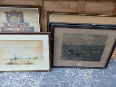 TWO ANTIQUE SPORTING PRINTS TOGETHER WITH VARIOUS FURTHER PICTURES ( QTY).