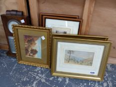 A PAIR OF 19th.C. LANDSCAPE WATRCOLOURS. 9 x 16cms. TOGETHER WITH OTHER PICTURES AND A VINTAGE OAK