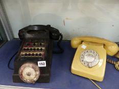 TWO VINTAGE TELEPHONES.