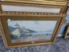 P. MACGREGOR WILSON (1856-1928) A SCOTTISH COASTAL VIEW, SIGNED, WATERCOLOUR, 30 x 50cms. TOGETHER
