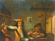 TWO PAIRS OF 19TH CENTURY OIL PAINTINGS INTERIOR SCENES AFTER THE OLD MASTERS - OIL ON METAL