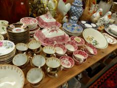 AN ANTIQUE HAND PAINTED PART TEA SERVICE, A CROWN STAFFORDSHIRE COFFEE SERVICE, COPELANDS RED AND