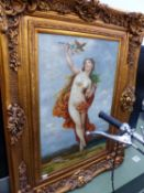 A SIGNED DECORATIVE OIL PAINTING ON CANVAS OF A NYMPH IN SWEPT GILT FRAME 91 X 62 CM