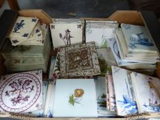 A COLLECTION OF VICTORIAN AND OTHER DECORATIVE TILES.