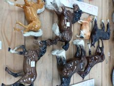 SIX VARIOUS HORSE AND COW FIGURES TO INCLUDE FOUR SIGNED BESWICK EXAMPLES.