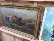 A LARGE GILT FRAMED PICTURE OF HIGHLAND CATTLE AND FURTHER DECORATIVE PICTURE (QTY)