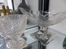 19TH C. NAVETTE FORM CUT GLASS BOWL AND ONE OTHER.