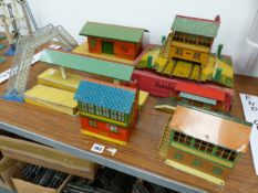 HORNBY PLATFORMS, SIGNAL BOXES, A LEVEL CROSSING AND A FOOT BRIDGE