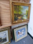 A PAIR OF DECORATIVE LANDSCAPE OIL PAINTINGS IN GILT FRAMES 40 X 50 CM T/W VARIOUS FURTHER