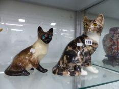 TWO JENNY WINSTANLEY CATS TOGETHER WITH THREE GERMAN PORCELAIN ELEPHANTS