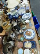 A CHINESE BLUE AND WHITE JAR AS A LAMP, ELECTROPLATE, A CLOCK, COLCLOUGH TEA WARES, ORIENTAL