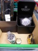 A SWISS MILITARY HANOWA GENTS WATCH ON A STAINLESS STEEL BRACELET STRAP COMPLETE WITH BOX, REF
