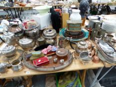 ELECTROPLATE, PEWTER MUGS, COPPER AND THREE WOODEN TRAYS