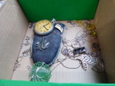 A MILITARY ISSUE SWISS POCKET WATCH, TOGETHER WITH TEN SILVER PENDANTS WITH CHAINS, FOUR SILVER