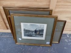 FIVE ANTIQUE HAND COLOURED SPORTING PRINTS, SIZES VARY (5)