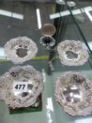 TWO PAIRS OF SILVER PIERCED SMALL DISHES TOGETHER WITH A MODERN POCKET WATCH.