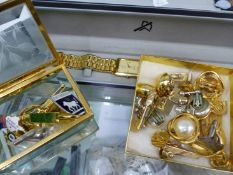 A WESTAR WRISTWATCH, VARIOUS COSTUME EARRINGS, CUFFLINKS AND MISC. PLATED CUTLERY