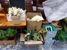 A COLLECTION OF ARTIFICIAL FLOWERS, FRUIT, BASKETS AND BAGS OF POT POURRI