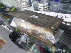 A GREEN CABOCHON MOUNTED METAL BOX AND ELECTROPLATE CUTLERY
