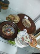 FIVE VARIOUS POT LIDS TO INCLUDE TWO IN FRAMES