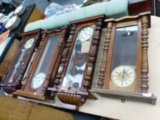 TWO GUSTAVE BECKER VIENNA TYPE REGULATOR WALL CLOCKS AND TWO OTHERS