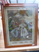 AN ANTIQUE NEEDLEPOINT PANEL, UNCLE TOM AND EVA, IN A MAPLE FRAME. 48 x 36cms.