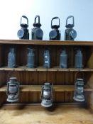TWELVE VARIOUS OIL LAMPS