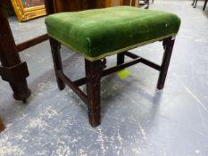 A 19th C. MAHOGANY STOOL, THE GREEN VELVET SEAT ON BLIND FRET CARVED LEGS