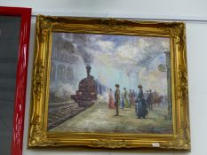 JEFF WELMAN (CONTEMPORARY SCHOOL). ARR. THE STATION, SIGNED, OIL ON CANVAS, 50 x 61cms.