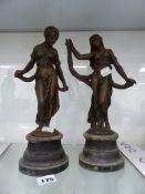 A PAIR OF SPELTER CLASSICAL LADIES DANCING