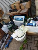 A LARGE QUANTITY OF POND AND FISH TANK EQUIPMENT, JIGSAWS, ETC.