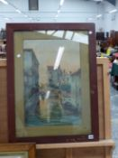 LATE 19th CENTURY ITALIAN SCHOOL. A VENETIAN CANAL VIEW, SIGNED INDISTINCTLY, WATERCOLOUR, 58 x