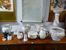 TWO FURNIVALS FLORAL JUGS, A CHAMBER POT, SWANS, A HUMMELL FIGURE AND A PLANTER ON STAND