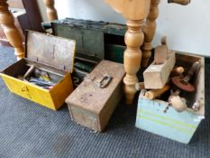 TWO METAL AND TWO WOODEN BOXES OF TOOLS