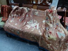 A LARGE SILK EMBROIDERED ORIENTAL PANEL AND A LATER STYLISED SCARF.