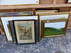 A GROUP OF 20th CENTURY LANDSCAPE WATERCOLOURS BY DIFFERENT HANDS, TOGETHER WITH VARIOUS PICTURES