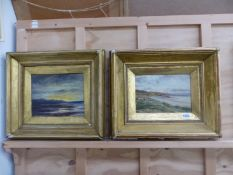 LATE 19th CENTURY SCHOOL, A PAIR OF COASTAL VIEWS, OIL ON CANVAS, LARGEST 21 x 26cm (3)