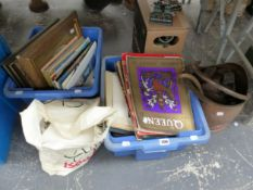 A COPPER COAL BUCKET, A SLIDE PROJECTOR, MAGAZINES, TABLE LINEN AND FRAMED PICTURES