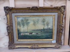A DECORATIVE LANDSCAPE OIL PAINTING, AFTER COROT, THE STRETCHER STAMPED, STUDIO M. CANALS, 26 x