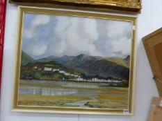 LUCY MCENTES (20th CENTURY). ARR. PORTMADOC, INSCRIBED VERSO, OIL ON CANVAS, 50 x 61cm