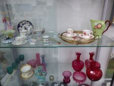 CRANBERRY AND OTHER GLASS, TEA AND COFFEE WARES, A DOULTON FIGURE AND A CARLTON JUG