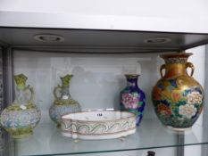 A PAIR OF JAPANESE PORCELAIN EWERS, A SATSUMA TYPE VASE, A CHINESE CLOISONNE VASE AND A