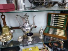 A HAND BELL, PLATED WARES, ETC.